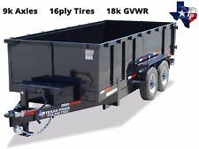 Brand New Texas Pride 7' x 18' Bumper Pull Dump Trailer, 18k gvwr
