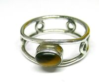 Handmade 925 Sterling Silver Ring with Real Tiger's Eye Stone (7 x 5 mm) Size Q