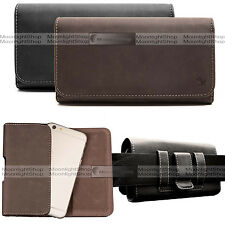 Premium LEATHER HORIZONTAL HOLSTER POUCH BELT CLIP CASE for Various Cell Phone