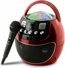 NEW Goodmans Portable LED Disco Karaoke Machine with CD - Red