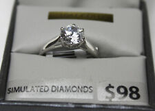 NEW 10 K WHITE GOLD & 1 CT SIMULATED DIAMOND  SOLITAIRE RING SIZE 7 04+9