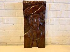 Vintage Wooden Carved African Woman Figural Art Portrait Statue
