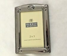 "Burnes Metal 3x4"" Silvertone Picture Frame Holds 2X3"" Photo w Foldout Back"