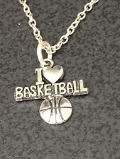 "Basketball I Love Charm Tibetan Silver 18"" Necklace Mix I"