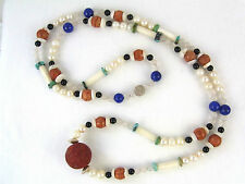 Lange Edelsteinkette 106 cm bunt unique u.a. Schaumkoralle Collier necklace long