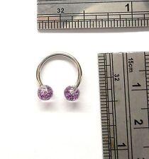 Surgical Steel Purple Speckle Cartilage Piercing Hoop Horseshoe 16 gauge 16g