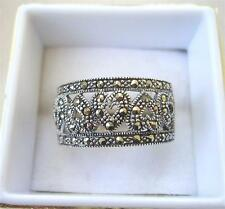 Chunky Silver & Marcasite Open Work Heart Ring - Size P/Q