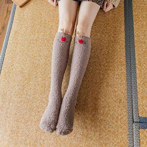1 Pair Lady Girls Stockings Cartoon Cute Coral Fleece Socks Winter Warm Colorful