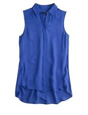 J CREW 0 Blouse SILK SLEEVELESS Tank Top Shirt Longer Concealed Buttons NWT