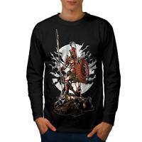 Wellcoda Sparta Warrior Fantasy Mens Long Sleeve T-shirt,  Graphic Design