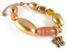 £50 Boho Gold Orange Yellow Butterfly Charm Bracelet Swarovski Elements Crystal