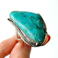 R014  Splendide Grande  Bague Style Amérindien Argent Massif 925  Turquoise t60
