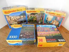 Lot of 5 Kodacolor Jigsaw Puzzles 1000 & 500 Pieces Kodak RoseArt