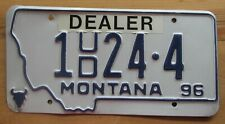 Montana 1996 SILVER BOW COUNTY USED CAR DEALER License Plate NICE # 1 24-4