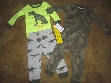 Boys Carter's NWT 4 piece long sleeved dinosaur camo pajama set size 6 months