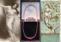 ANTIQUE ART DECO BOHEMIAN CZECH PINK CORAL GLASS BEADS NECKLACE BRIDAL GIFT