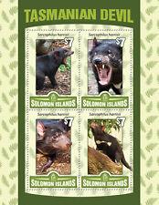 Solomon Islands 2016 Gomma integra, non linguellato Diavolo della Tasmania 4 V M/S Animali Selvatici FRANCOBOLLI