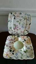 TRACY PORTER  CHIP DIP  NWS  L@@K !! & Platter Hand Painted 2 Pc