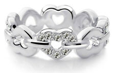Platinum Plated Silver with White Rhinestones Hearts Ring Diameter 17 mm FR137