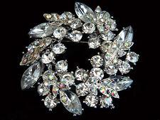 Luxury Silver Base & White Crystal Rhinestone Wreath Brooch Pin BR59