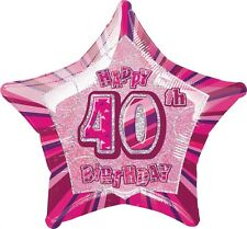 """20"""" Happy 40th Birthday Party Pink Sparkle Star Foil Balloon"""