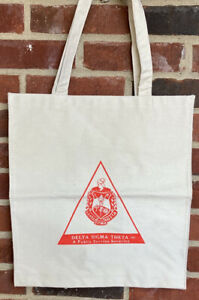 Delta Sigma Theta Sorority, Inc Crest Logo Pyramid Khaki Canvas Bag Vintage USED
