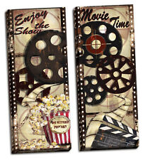 """Movie Night! Old-Fashioned Cinema Panels; Two 8x20"""" Canvases"""