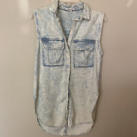 Helmut Lang Women's Acid Wash Sleeveless Button Down Tunic Top Size Small