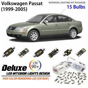 15 Bulbs Deluxe Interior LED Light Kit White For 1999-2005 Volkswagen Passat B5