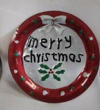 "Pfaltzgraff ""Merry Christmas"" Round Glass Serving Platter 14"" w/ Box # 5099384"