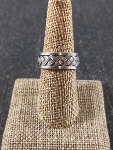 Sterling Silver Braided Center Spinner-Meditation Ring Size 7 (N)
