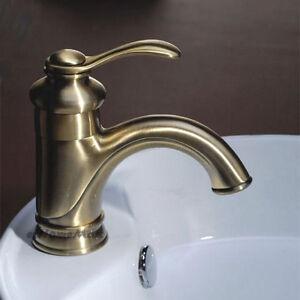 Antique Bronze Bathroom Sink Faucet Single Handle Hole Vessel Basin Mixer Tap