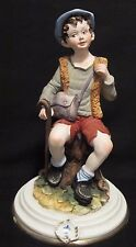 RARE Vintage Capodimonte Porcelain Figurine Resting Boy Traveller