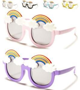 ADORABLE GIRLS ROUND KIDS RAINBOW AND CLOUD CUTE SUNGLASSES 100% UV