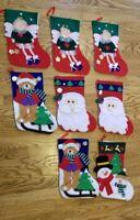 Lot of 8  Felt Christmas Stocking Santa Angel Bears used