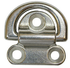 "Marine Boat Folding Pad Eye, 2.5"" wide 5/16"" ring 316 Stainless Steel"