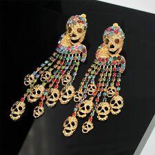 Pendiente`Orejas CLIPS ON Largo Calavera Flecos Cristal Multicolor AS1