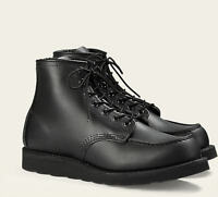 Red Wing Boots Moc Toe 8130 Premium Black Skagway Leather Shoes 6-Inch Heritage