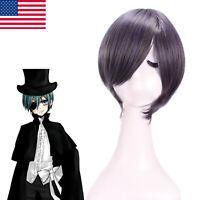 Black Butler Ciel Phantomhive Cosplay Wig Dark &Gray Short Straight Bob Hair