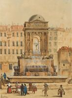 E. SONNTAG (1813-1887), Die Fontaine des Innocents, Paris, Aquarell