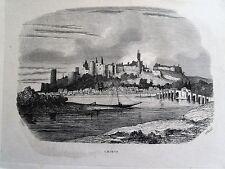 Bi1-3 Gravure 1845 chateaux historiques par Théodore Frère - Chinon