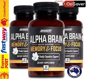 ⭐ ONNIT Alpha BRAIN 90 Caps Joe Rogan JRE Nootropic Alpha GPC Huperzine Smart AU