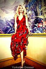 MONSOON UK 10 Red Floral SANDY Halter Midi Flamenco Dress As on Holly Willoughby