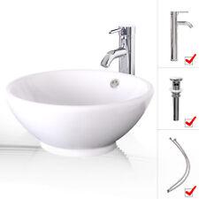 Bathroom Ceramic Vessel Sink W/ Faucet Round Bowl Pop Up Drain Top White Combo