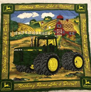 Handmade John Deere Baby Blanket Tractor 33x33 Park Barn Green