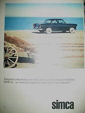 PUBLICITE DE PRESSE SIMCA AUTOMOBILE  FRENCH AD 1961