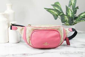 Coach (6548) Signature Coated Canvas Court Khaki/Pink Waist Belt Bag Fanny Pack