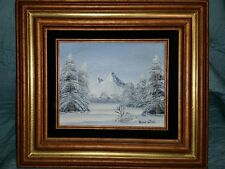 Vintage Artist Signed Barrister Winter Snow Forest Tree Painting 17.6 Frame