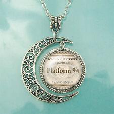 Moon jewelry Harry Potter pendant Steampunk Platform 9 3/4 Train Ticket necklace