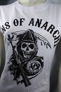 SOA SONS OF ANARCHY REAPER LOGO BIKER MOTORCYCLE GOTHIC WHT JUNIOR T SHIRT S-2XL